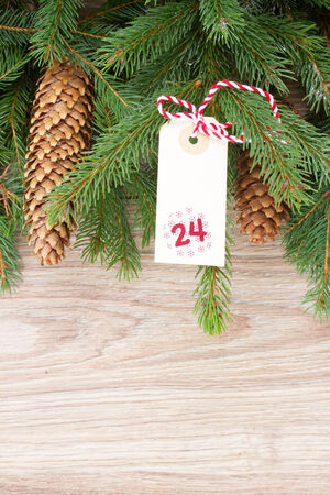 evergreen tree with cones  and christmas tag for 24 december photo