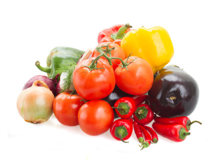 bunch  of colorful raw vegetables   - tomatoes, onion, peppers, pumpkin and eggplant photo
