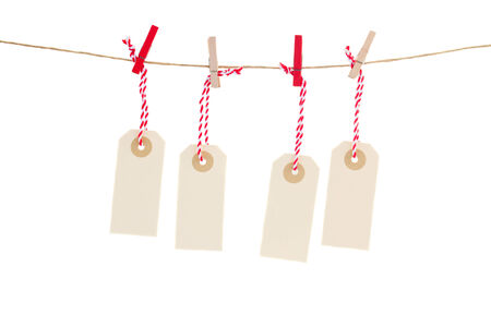 empty  four  tags isolated on white background photo