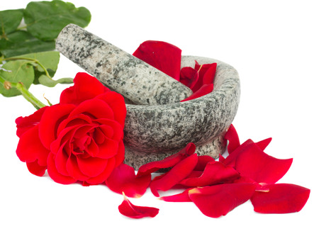 spoiling: Mortar with red rose and petals isolated on white background