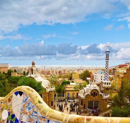 gaudi: Park Guell  designed by Antonio Gaudi, Barcelona, Spain