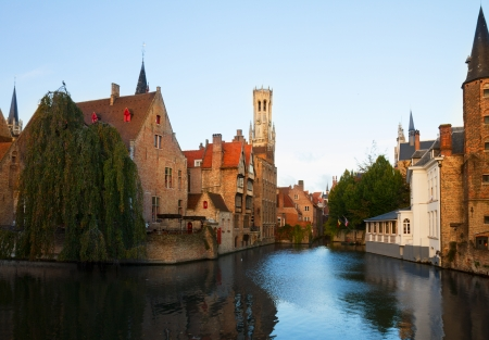 belfort: classical view of old town of Bruges with Belfort tower, Belgium