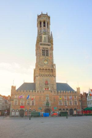 famouse medieval belfry Belfort of Bruges, Belgium