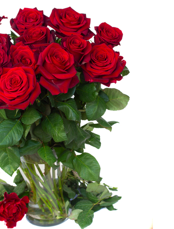bouquet of dark red roses in vase isolated on white background photo