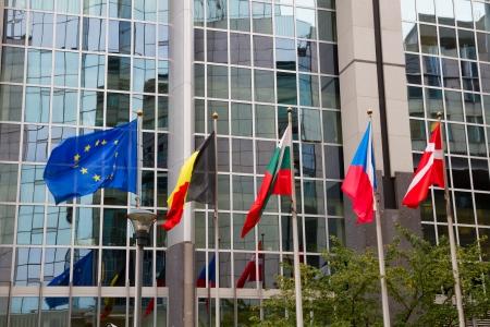 eec: European flags in front of the Europen parlament, Brussels, Belgium