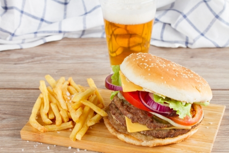 Fresh  burger with french fries and beer photo