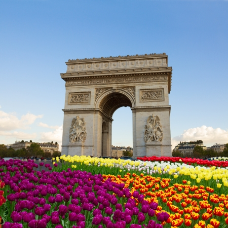 Arc de triomphe at spring day, Paris, France