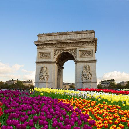 Arc de triomphe at spring day, Paris, France