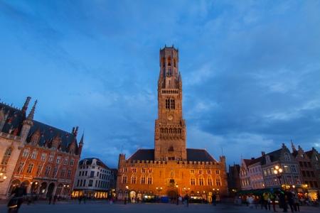 belfort: famouse medieval belfry Belfort of Bruges at Grote Markt square, Belgium