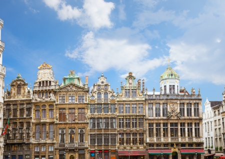 Giuldhalls facades Grand Place Town Square, Brusseles, Belgium Stock Photo