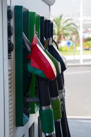row of petrol station pupmps close up photo