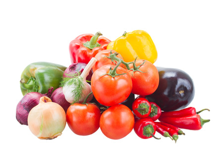pile   of colorful raw vegetables   - tomatoes, onion, peppers and eggplant photo