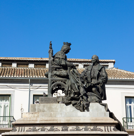 isabel: Isabela I with Christopher Columbus, monument was made by Mariano Benlliure in 1892, Granada Spain