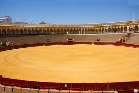 bullfight arena, plaza de toros in Seville, Andalusia, Spain