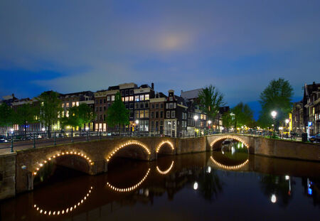 night canals of old town, Amsterdam, Holland photo