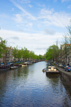 old houses on Amsterdam canal ring, Holland photo