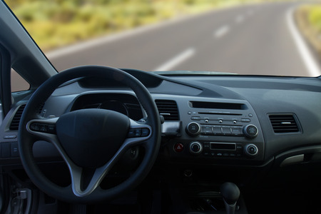 View of the interior of a modern car showing the dashboard photo