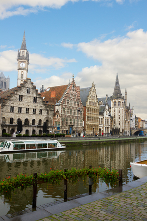 Old  town on Graslei embankment at day, Ghent, Belgium