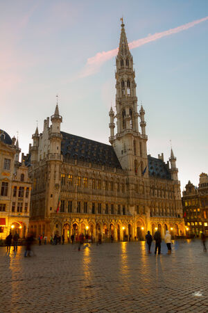 Brussels old  Town Hall at blue night, Belgium Editorial