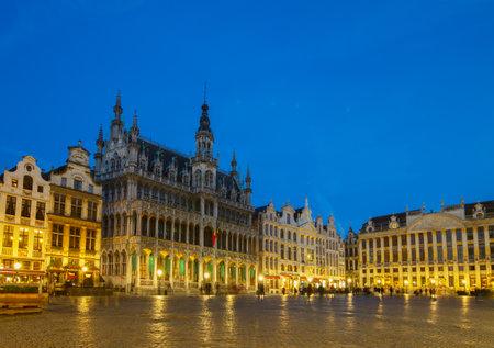 View of illuminated Grand Place  town square, Brusseles, Belgium
