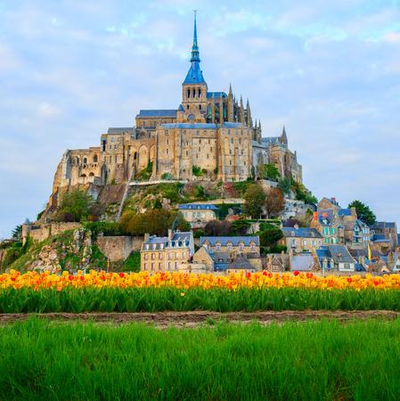 몽 생 미셸, 노르망디, 프랑스의 수도원 스톡 콘텐츠