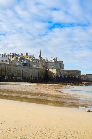 st malo: Saint-Malo City Wall and old town - Intramuros , Brittany, France Editorial
