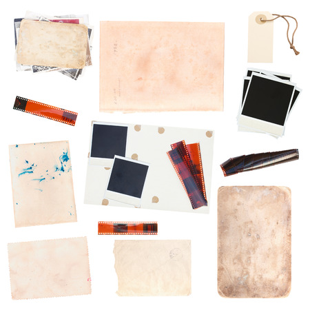 old photographs: set of various old paper sheets and vintage photos isolated on white background