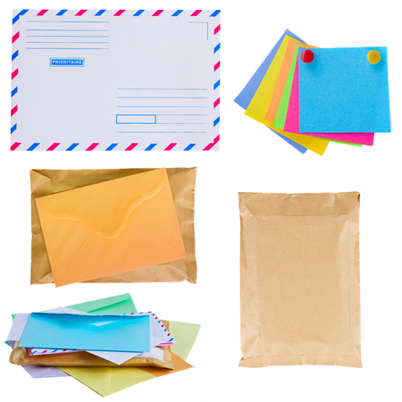 pile of mail, envelopes and stickers  isolated on white background photo