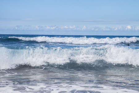 storm seascape - crushing water wawes with white  foam photo