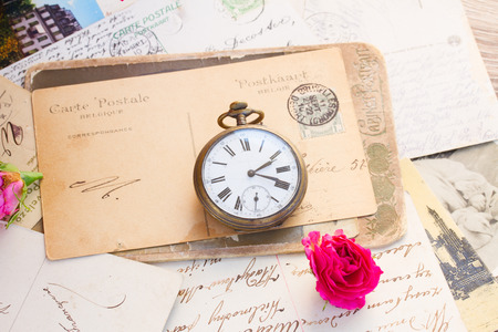 old letter  with copy space and old clock photo