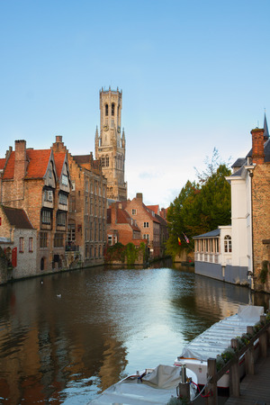 belfort: classical view of old Bruges with Belfort tower and canal water, Belgium