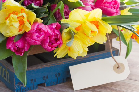 spring tulips and daffodil flowers with  empty tag photo