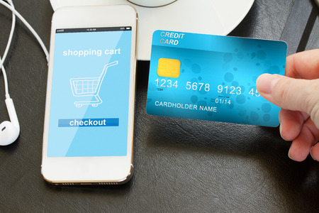 mobile shopping concept  - checking out in virtual shop