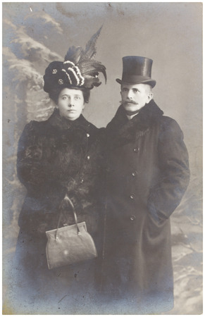 POLAND, WARSAW - CIRCA 1910s : old photo  of reach middle aged married couple . Illustrative Image, subject of human interest0