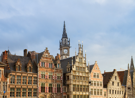 fronts of medieval guildhall houses, Ghent, Belgium Stock Photo