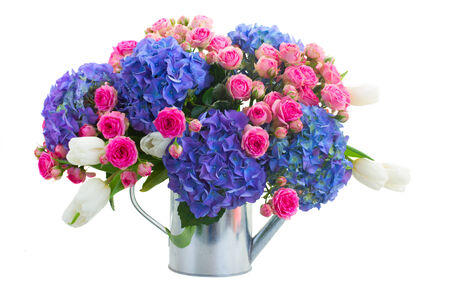 bouquet  of white tulips, pink roses  and blue hortensia flowers   isolated on white background photo