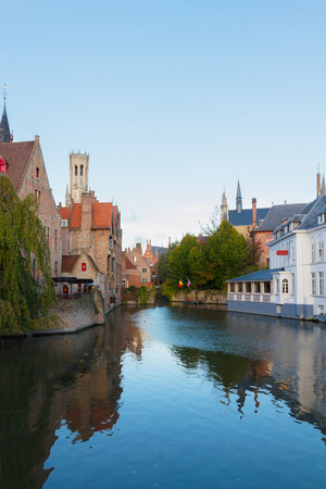 classical view of medieval Bruges with Belfort tower, Belgium