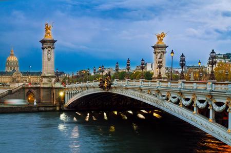 famouse Alexandre III Bridge at night,  Paris, France