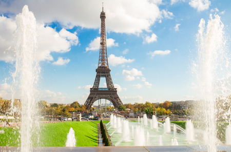 Eiffel Tower and fountains of Trocadero, Paris,  France photo