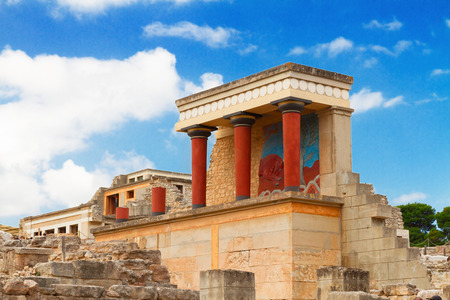 ancient ruines of famouse Knossos palace at Crete, Greece photo