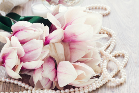bridal bouquet: wedding decorations  - fresh  magnolia flowers with  pearl jewels