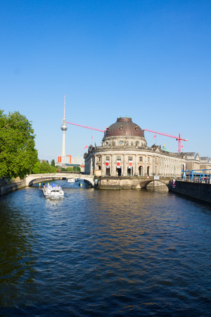 cityscape of Berlin with river Spree,  TV tower and Bodes museum, Germany Editorial