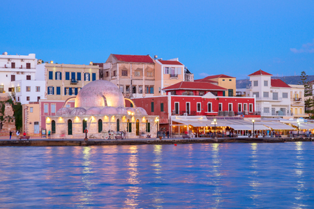 venetian habour of Chania  at night, Crete, Greece photo