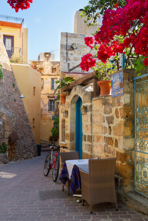 cosy street of Chania old town, Crete, Greece