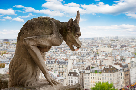 Gargoyle on Notre Dame Cathedral over Paris, France photo