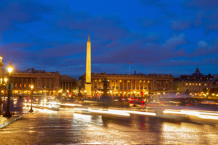 Eiffel Tower and The Obelisk  from Place de la Concorde at night, Paris, France photo