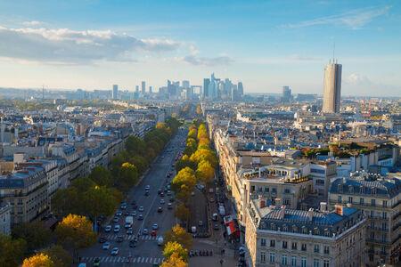skyline of Paris city  towards La Defense district, France photo