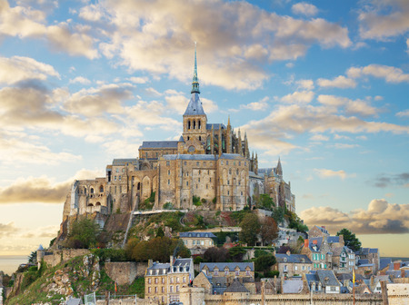 mont saint michel: close up of Mont Saint Michel on sunset,  France Stock Photo