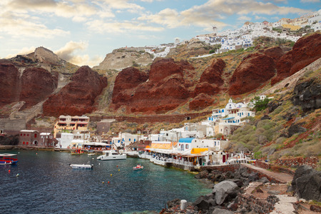 Amoudi bay, port of Ooia, Santorini, Greece photo