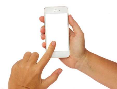 someones hands holding and touching  modern smartphone isolated on white background with copy space